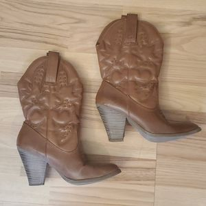 Brown cowboy style boots